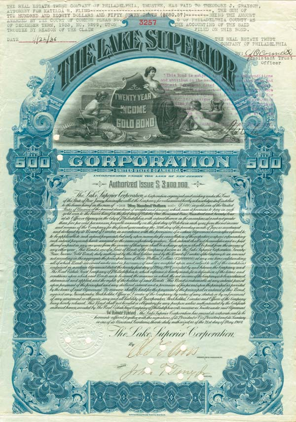 Lake Superior Corporation - Bond