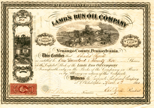 Lamb's Run Oil Company - Stock Certificate