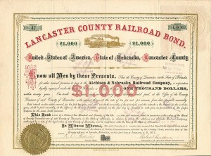 Lancaster County Railroad Bond