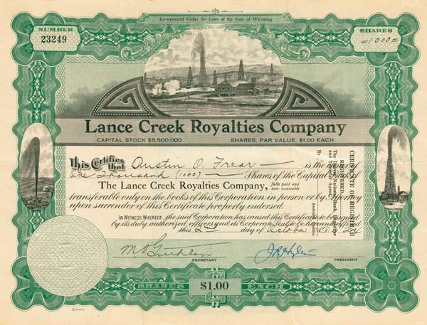 Lance Creek Royalties Company - Stock Certificate