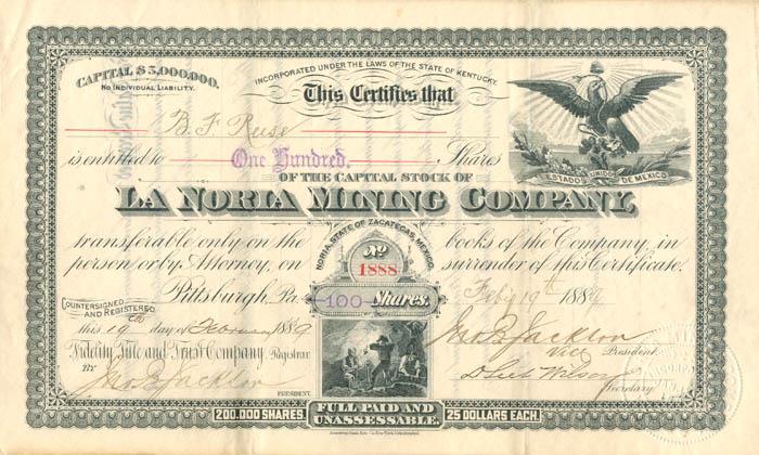 La Noria Mining Company - Stock Certificate