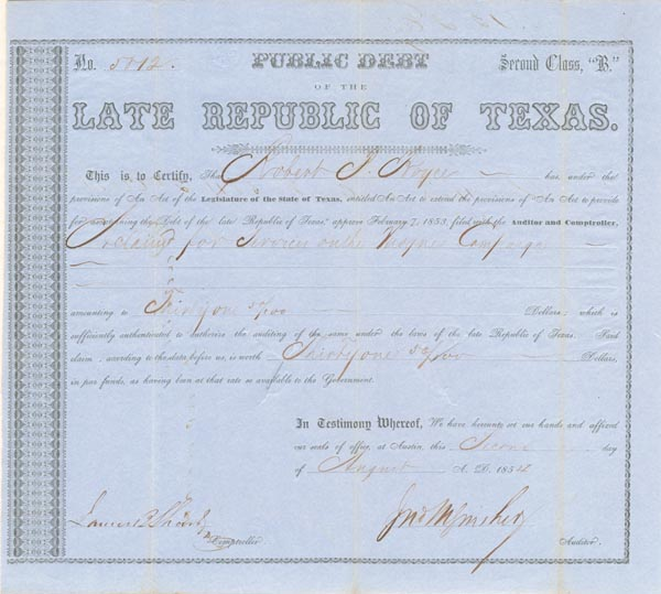 Public Debt of the Late Republic of Texas - SOLD
