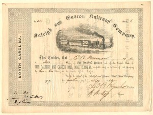 Raleigh and Gaston Railroad Company signed by Lawrence O'Bryan Branch