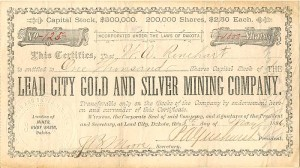Lead City Gold and Silver Mining Company - SOLD