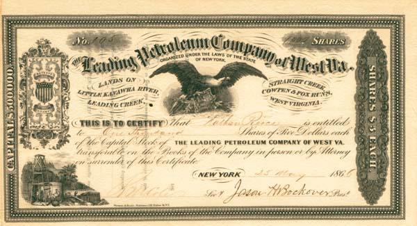 Leading Petroleum Company of West Virginia - Stock Certificate