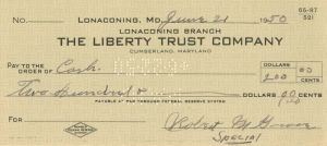 "Robert M. ""Lefty"" Grove Signed Check - SOLD"