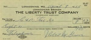 "Robert M. ""Lefty"" Grove Signed Check"