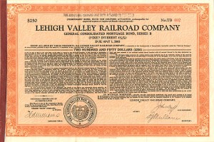 Lehigh Valley Railroad Company - $250 Bond