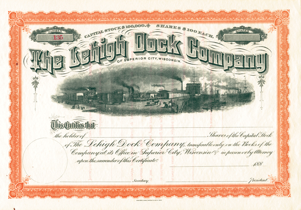 Lehigh Dock Company of Superior City Wisconsin - Stock Certificate
