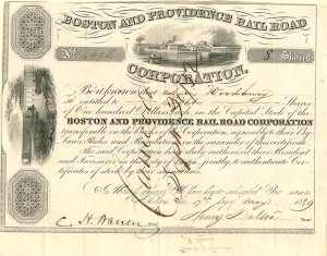 Boston and Providence Railroad Corporation Issued to Levi Woodbury - Stock Certificate