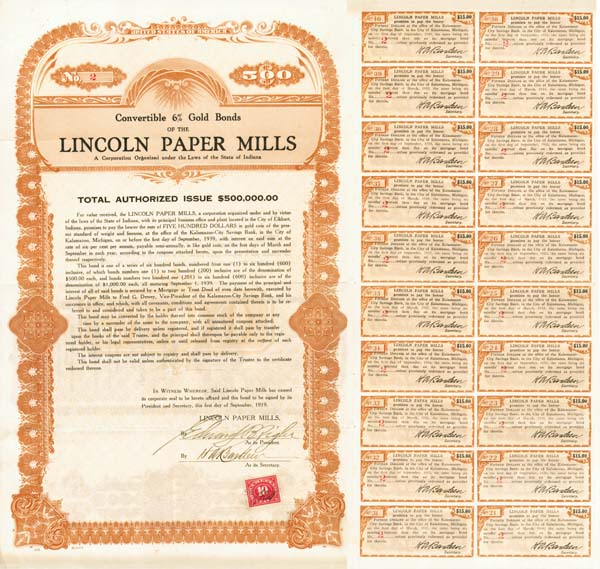 Lincoln Paper Mills Bond