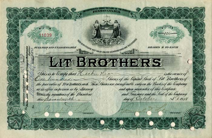 Lit Brothers signed by Samuel and Jacob Lit - Stock Certificate
