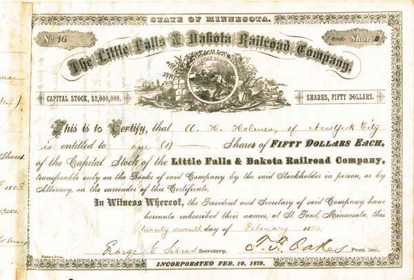 Little Falls & Dakota Railroad Company - Stock Certificate
