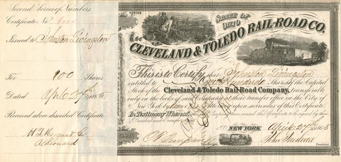 Cleveland & Toledo Rail-Road Co. signed by Johnston Livingston