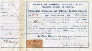 Philadelphia, Wilmington, and Baltimore Railroad Company signed by Henry W. Longfellow - SOLD