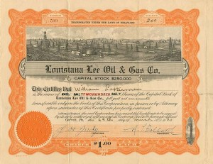 Louisiana Lee Oil & Gas Co. - Stock Certificate