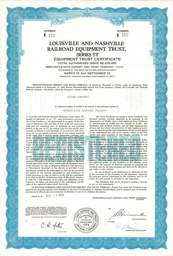 Louisville & Nashville Railroad Equipment Trust Company - Bond