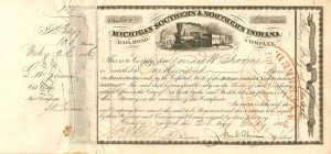 Michigan Southern & Northern Indiana Railroad signed by Leonard W. & L. R. Jerome