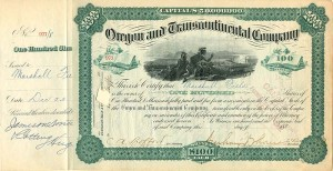 Oregon and Transcontinental Company signed by Marshall Field