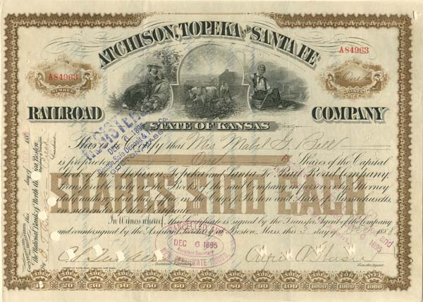 Atchison, Topeka and Santa Fe Railroad Company Issued to Mabel G. Bell