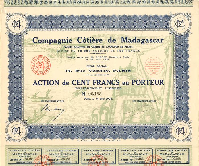 Compagnie Cotiere de Madagascar - Stock Certificate