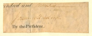 Clipped Signature of James Madison - SOLD
