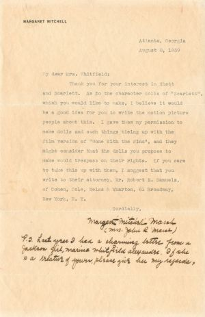 Margaret Mitchell Marsh signed letter - SOLD