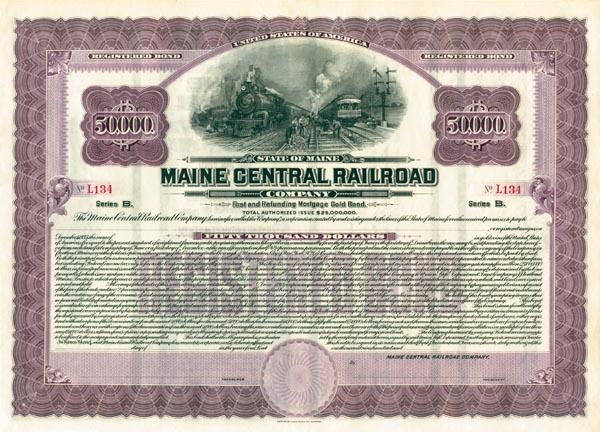 Maine Central Railroad - $50,000 Bond