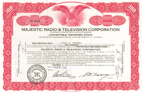 Majestic Radio & Television Corporation - SOLD