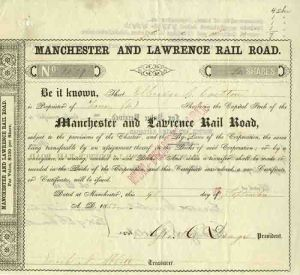 Manchester and Lawrence Rail Road - Stock Certificate