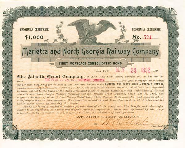 Marietta & North Georgia Railway - Bond