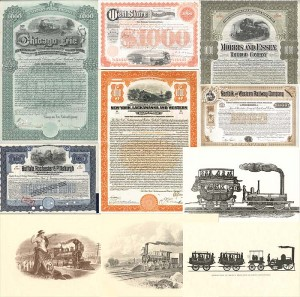 Collection of Railroad Bonds and Prints