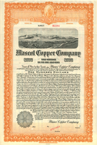 Mascot Copper Company $100 Bond