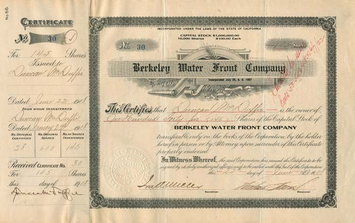 Berkeley Water Front Company signed by Duncan McDuffy - SOLD