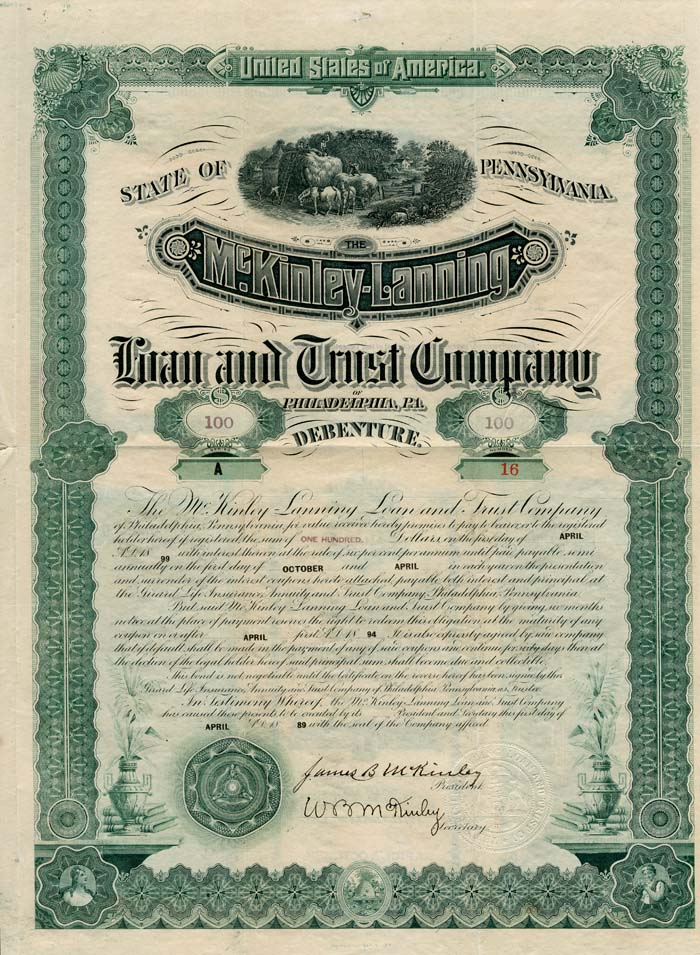 McKinley-Lanning Loan and Trust Company of Philadelphia, PA.