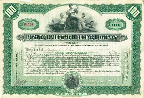 Charles Sanger Mellen - Boston Railroad Holding Company - Stock Certificate