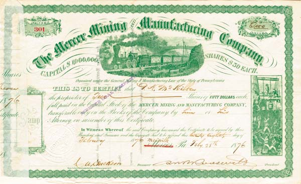Mercer Mining and Manufacturing Company signed by Robert B. Roosevelt - Stock Certificate