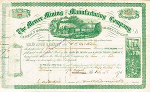Mercer Mining and Manufacturing Company signed by Robert B. Roosevelt