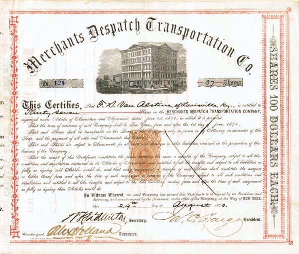James C. Fargo - Merchants Despatch Transportation Company - Stock Certificate