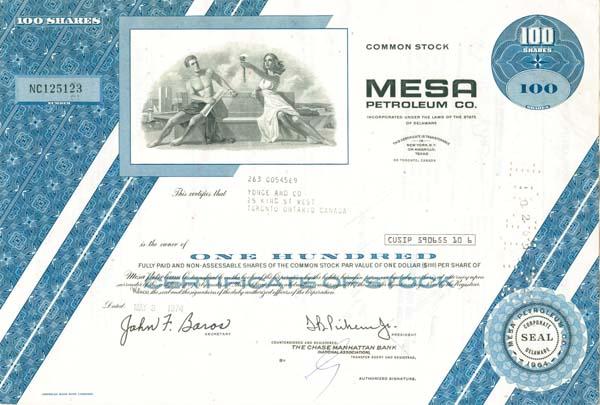 Mesa Petroleum Company - Stock Certificate - SOLD
