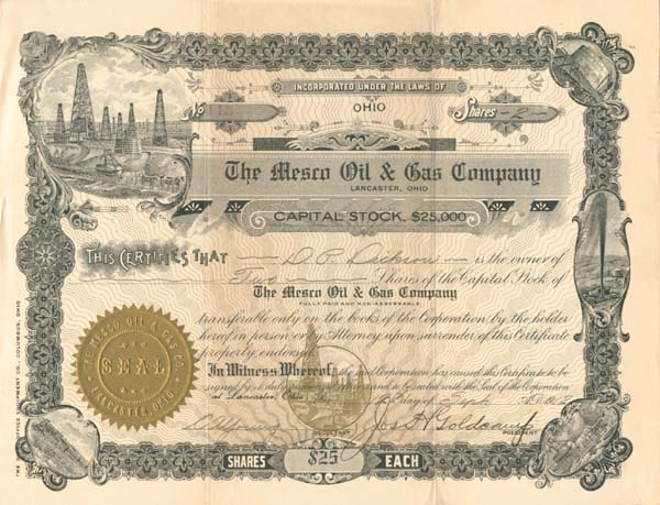 Mesco Oil & Gas Company - Stock Certificate