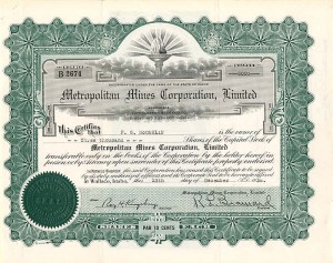 Metropolitan Mines Corporation, Limited