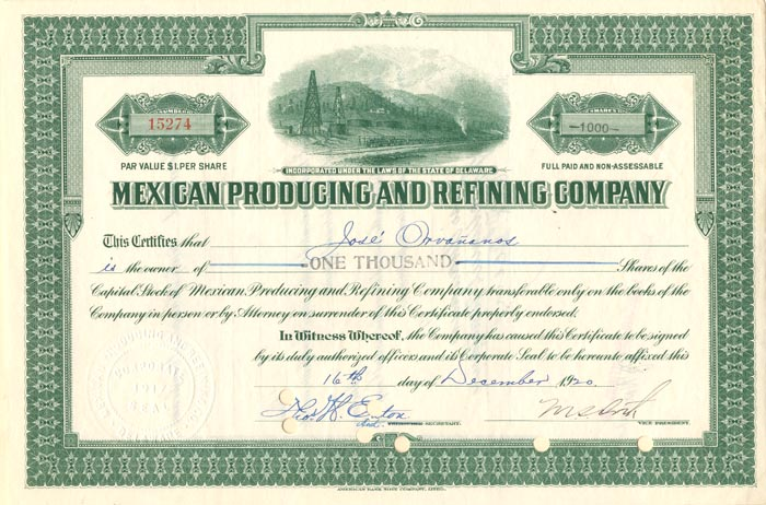Mexican Producing and Refining Company - Stock Certificate