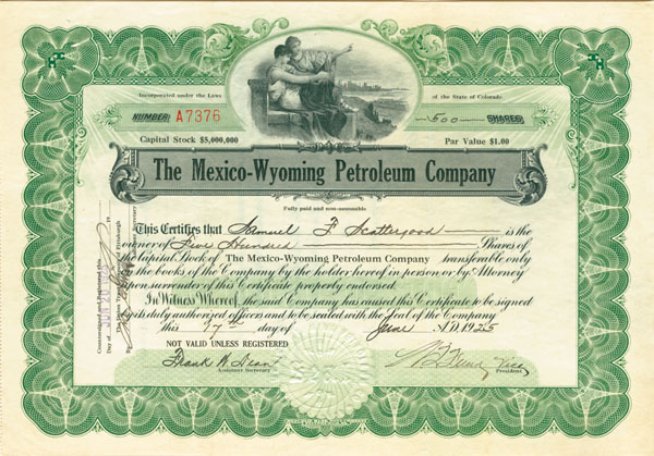 Mexico-Wyoming Petroleum Company - Stock Certificate