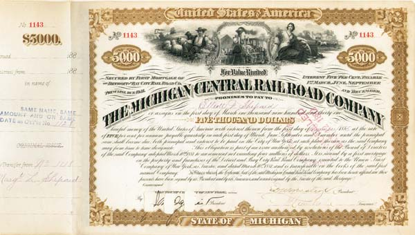 Elliott F. Shepard - Michigan Central Railroad - SOLD