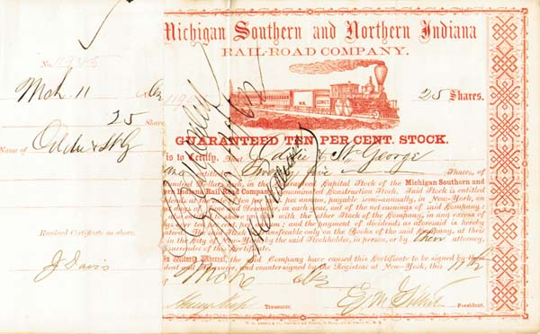 Henry Keep - Michigan Southern & Northern Indiana Railroad - Stock Certificate