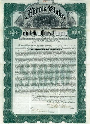 Middle States Coal and Iron Mines Company - $1,000 - Bond