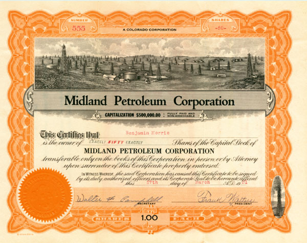 Midland Petroleum Corporation - Stock Certificate