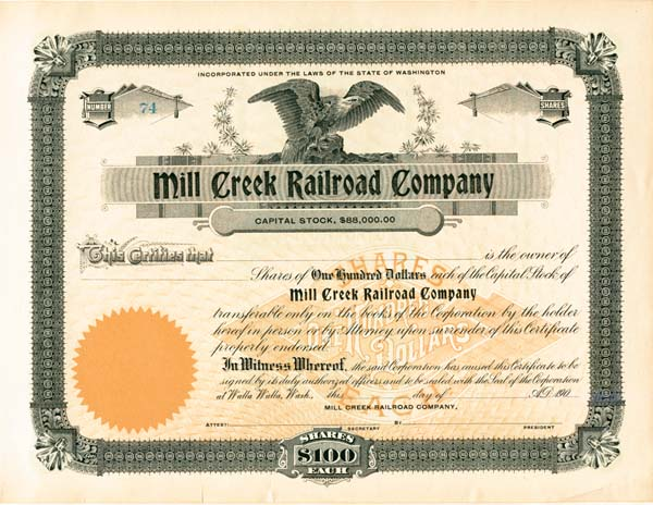 Mill Creek Railroad Company - Stock Certificate
