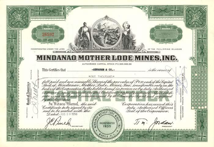 Mindanao Mother Lode Mines, Inc. - Stock Certificate